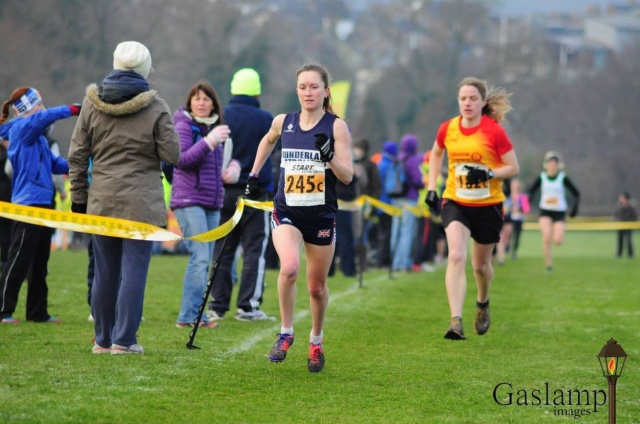 Start of the second lap at the Durham Cathedral Relays