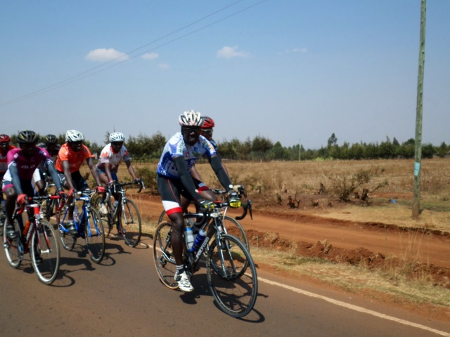 Kenyan cycle team riding through Iten on the way back from my tempo run