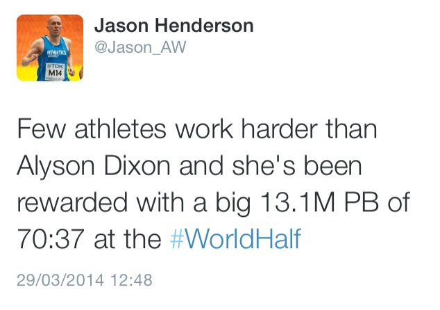 Tweet from editor of Athletics Weekly after this years World Half Marathon Championships.