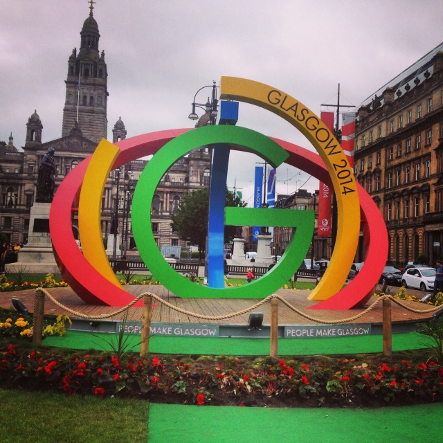 Commonwealth Games logo sculpture in Glasgow George Square.