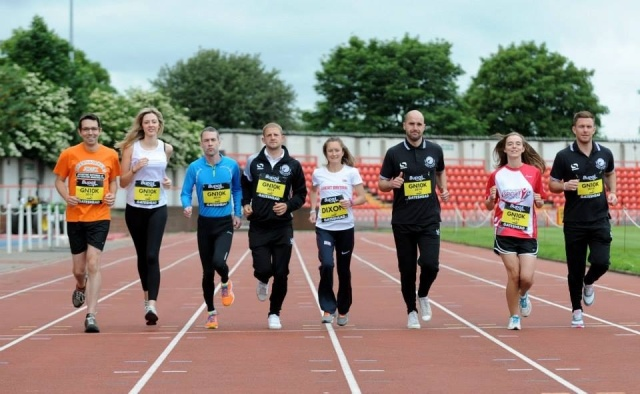 With fellow runners and some of the Gateshead FC players at BUPA Great North 10k launch