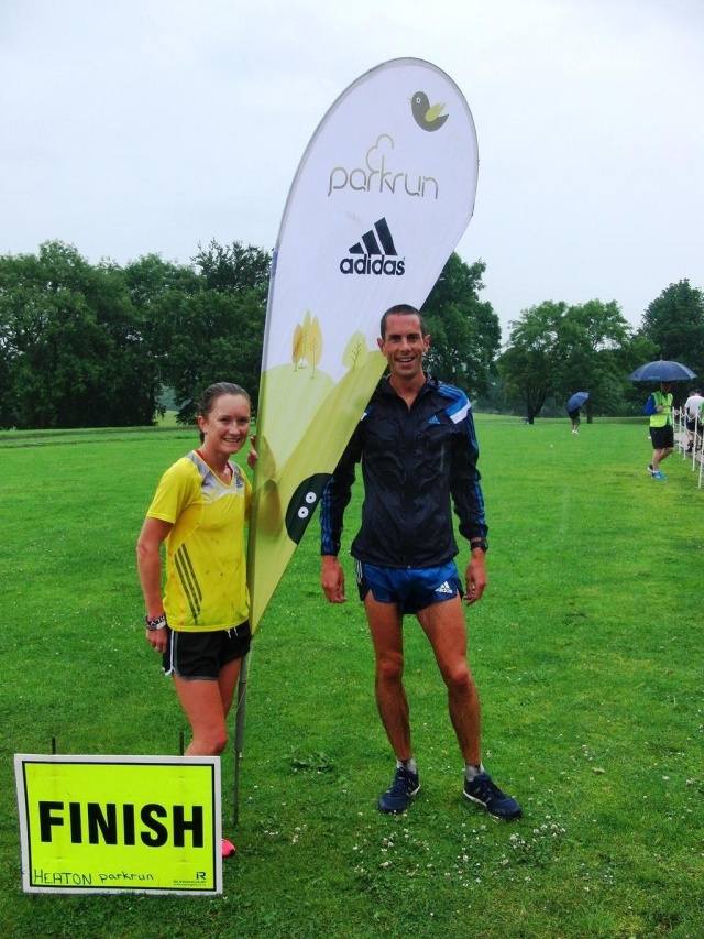Myself and Steve Way after a very wet Heaton parkrun on Saturday