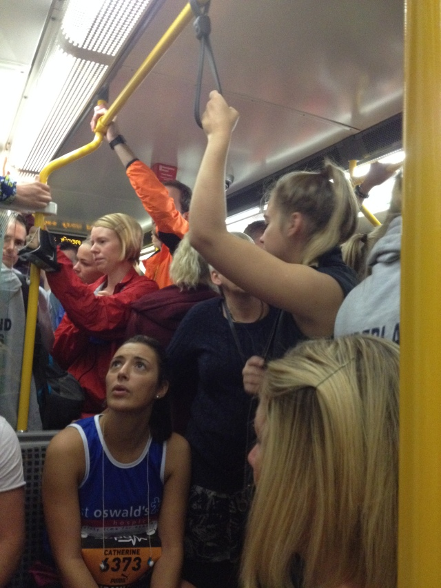 Runners playing sardines on the Metro from Sunderland to Newcastle