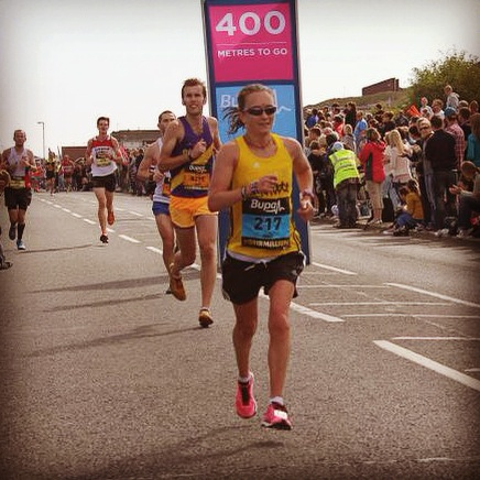400m to go and still smiling - not often you say that at this stage in a half marathon!