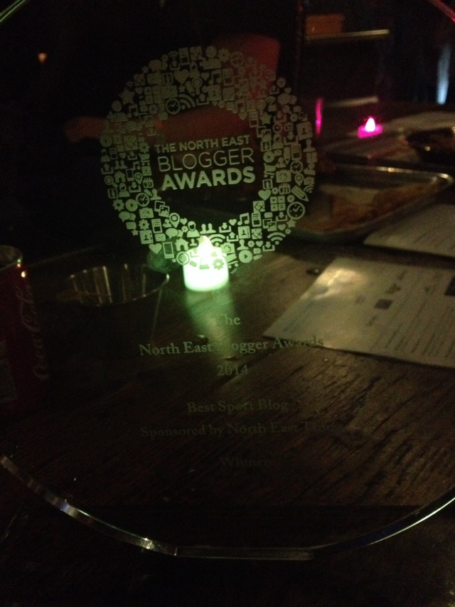 My award (not the greatest picture but it was dark!)