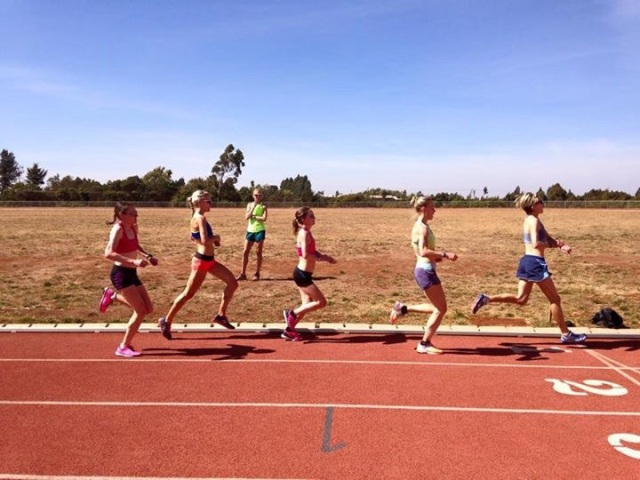 Putting the work in onthe track with Paula keeping a watchful eye on us