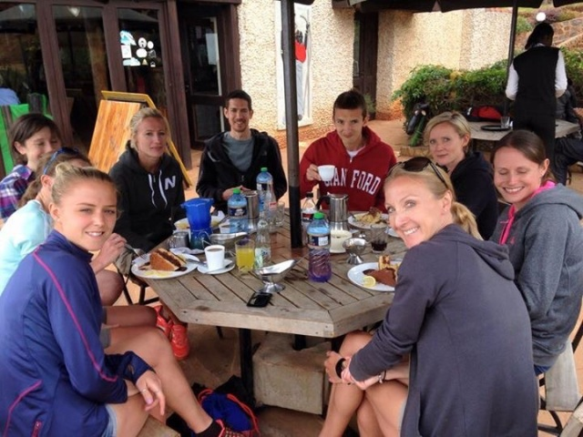 Relaxing at Kerio View post Sunday long run - I'm too interested in my cake to look at the camera!!
