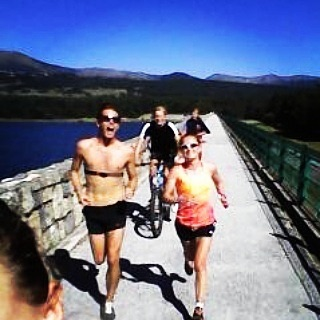 Goofing around on a long run round Lac Matermale with Tom Farrell